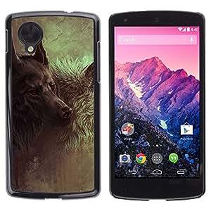 [Neutron-Star] Snap-on Series Teléfono Carcasa Funda Case Caso para LG Nexus 5 D820 D821 [Lobo Hound Dog Majestic Arte Pintura]