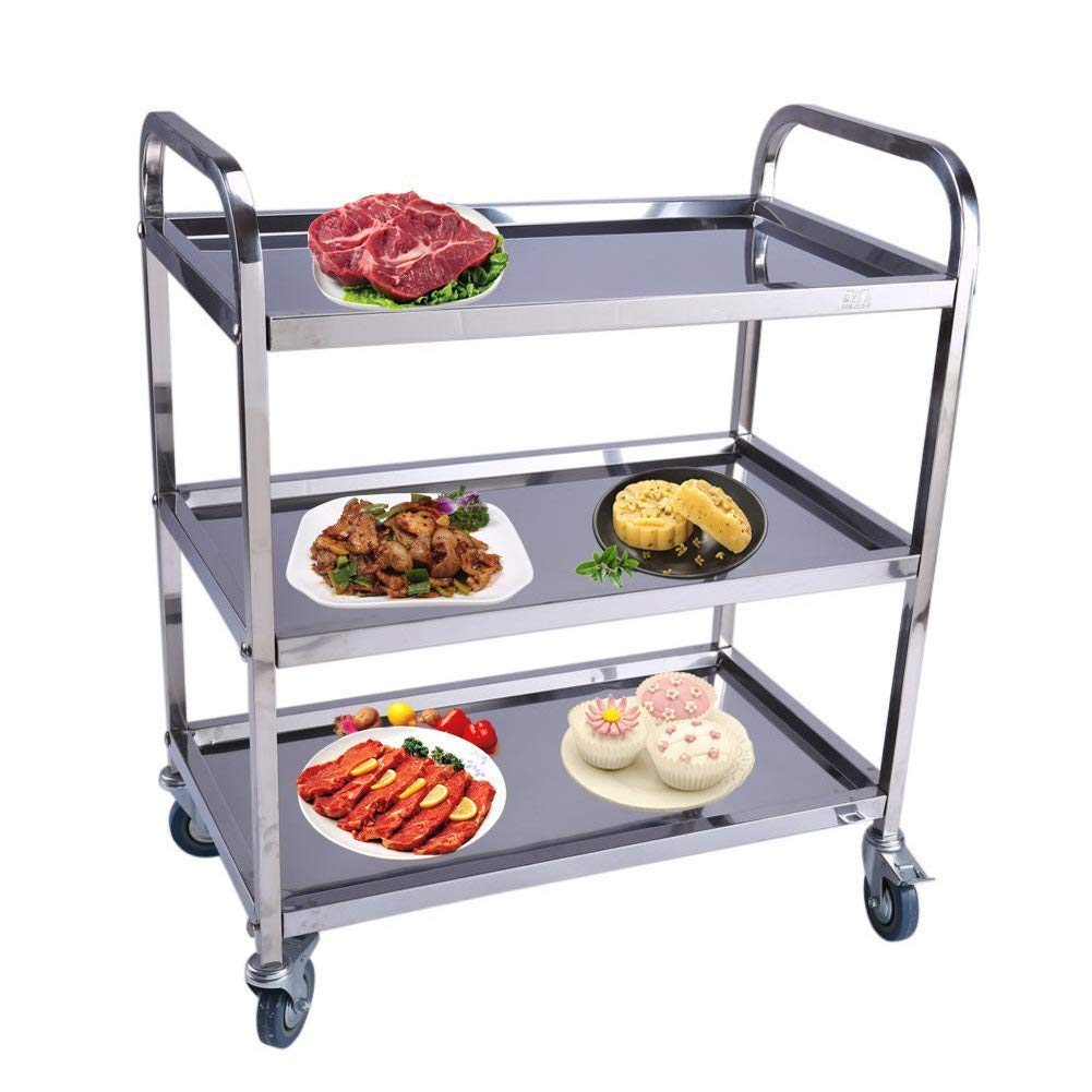 Catering Trolley, 3 Tier Stainless Steel Detachable Serving Trolley Cart Clearing Trolley Catering Trolley on Wheels with Brake for Bathroom Kitchen Storage, 850x900x450mm Zerone
