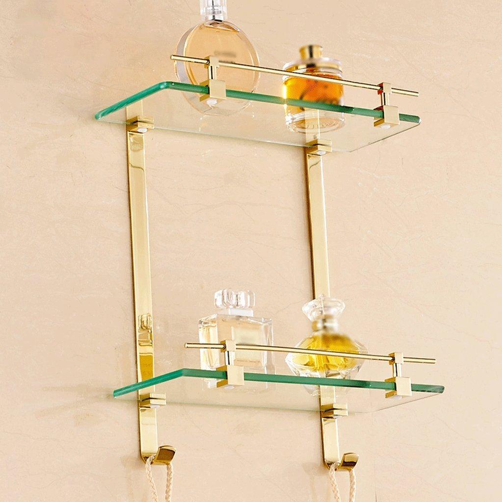 40 cm銅と金のダブル化粧品ガラス棚のバスルームアクセサリー B07D1QHHW5 40*13*38cm 40*13*38cm