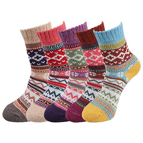 Fantastic Zone 5 Pairs Womens Vintage Style Winter Soft Warm Thick Knit Wool Crew Socks