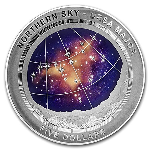 2016 AU Australia Silver $5 Color Domed Northern Sky Ursa Major 1 OZ Brilliant Uncirculated