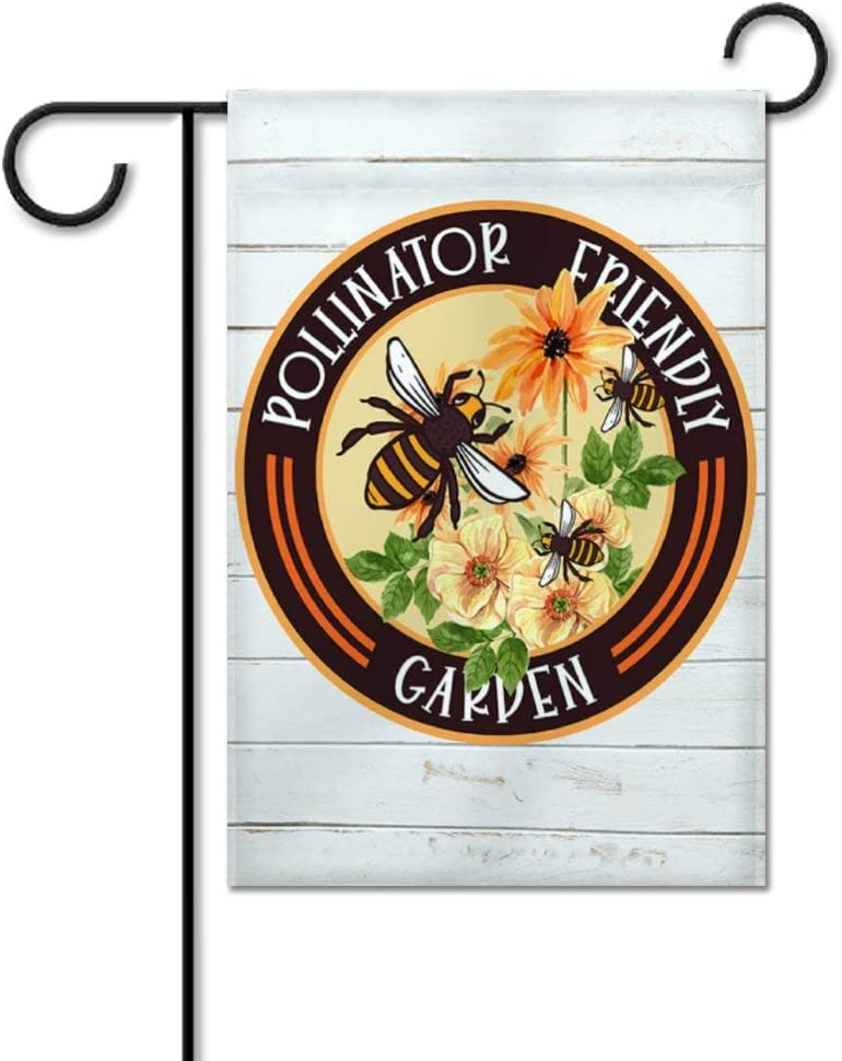 """Pollinator Friendly Garden Flag Yard Decor Vertical Double Sided Custom Owl Name Outside House Decoration Decal Welcome Flag Seasonal Banners for Patio Lawn Outdoor Home Decor 12""""x18"""""""