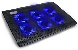 Laptop Cooling Pad, Adjustable Angle Ultra Quiet Gaming Laptop Cooler Stand with 6 Fans, Blue Led Lights, 2 USB Ports, Suitable for 12-15.4 Inches Laptop, Notebook