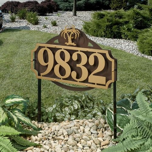 Palm Plaque - Touch Of Class Metal La Casa Palm Tree Address Yard Sign Gold/Bronze Yard