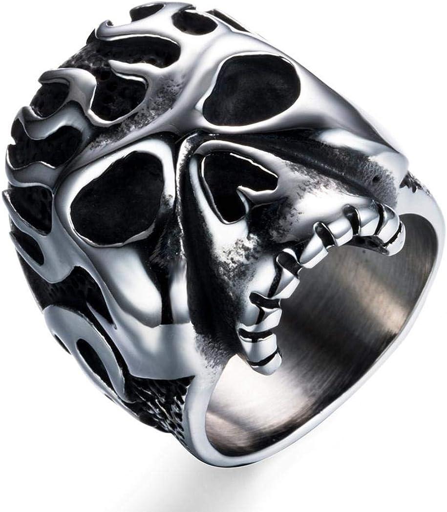 Goat Head with Big Horns Fashion Stainless Steel Jewelry JEWURA Biker Ring
