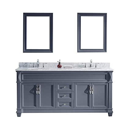 72 Inch Kitchen Sink Base Cabinet.Virtu Usa Md 2672 Wmsq Gr Victoria Double Bathroom Vanity With Marble Top Square Sink With Mirror 72 Inches Cool Gray