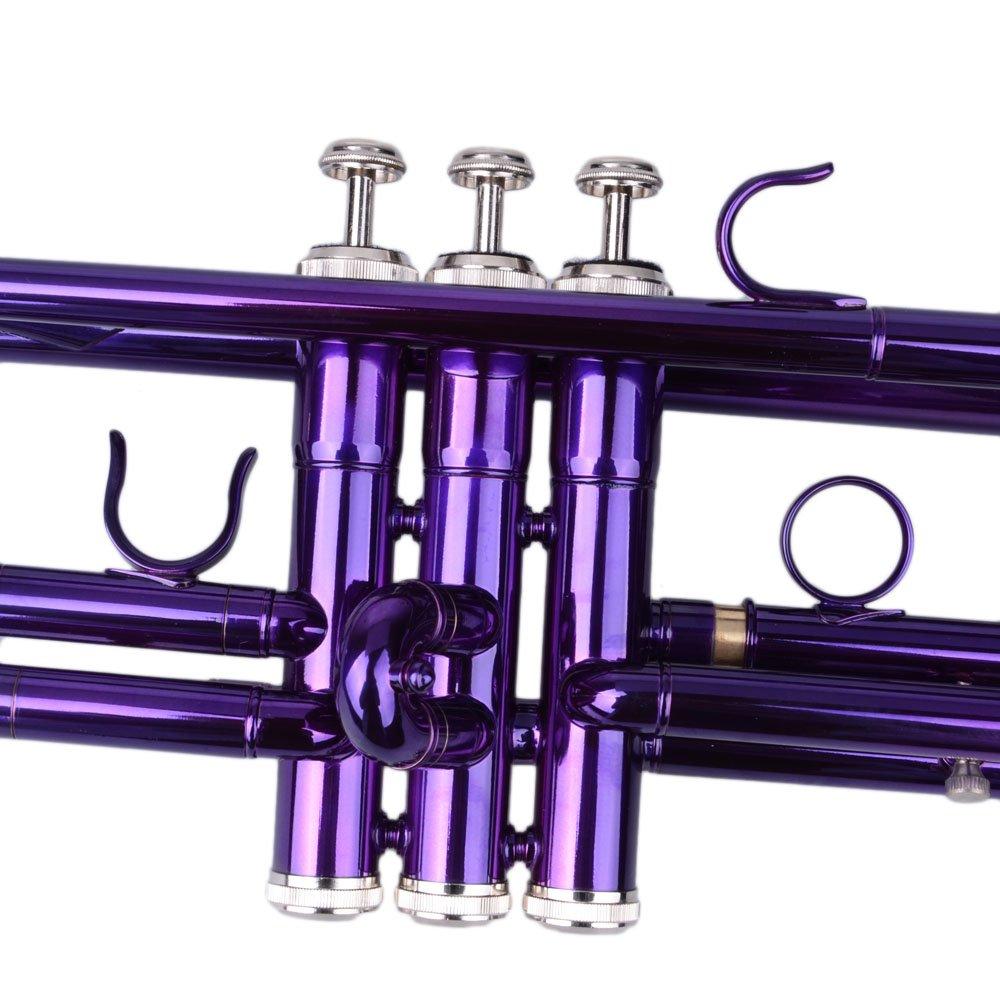 Beginner Trumpet Bb B Flat Brass Gold with Gloves Accessories Kit Mouthpiece Case Blue