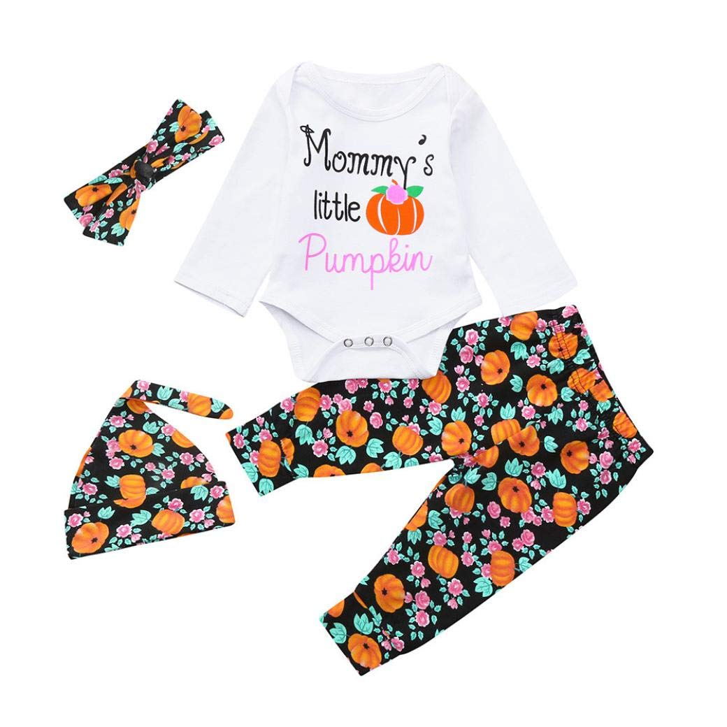 H.eternal Halloween Baby Romper Newborn Toddler 4Pcs Baby Girls Boys Letter Mommy's Pumpkins Cotton Long Sleeve Romper Tops,Floral Pants,Hat Headbands Outfits Pyjamas Set