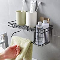 Simxen Stainless Steel Bathroom Shower Caddy, Bathroom Shelf Wall Hanging Storage Organizer Kitchen Rack with Shampoo, Soap Holder and Towel Rack Hanger (Black)