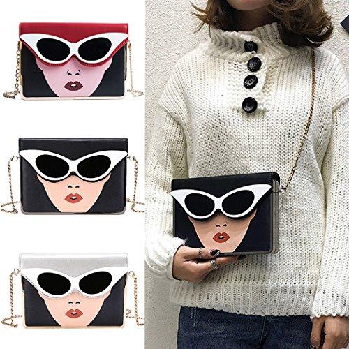 Bandoulière De Pour Impression Beauté Lunettes Chaîne Red À Rabat Soleil Sac Femme Messenger Coafit Couverture HqAwE0xH