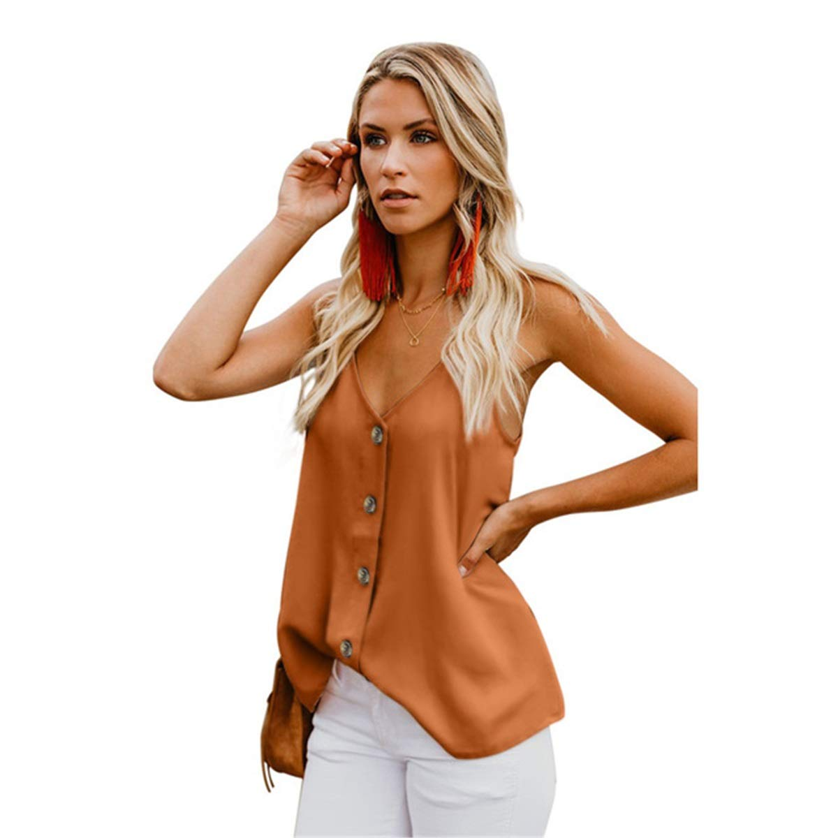 Zoowi Summer Explosion New Vest T-Shirt Female V-Neck Single-Breasted Sleeveless Halter Sling Top