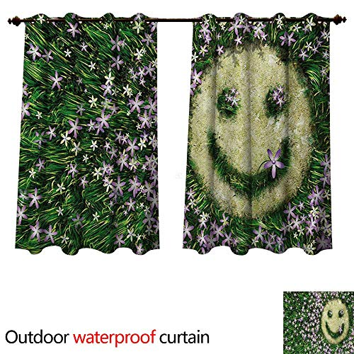 in for Patio Smiley Emoticon on The Grass with Spring Flowers Happy Humorous Meadow Print W63 x L72(160cm x 183cm) ()