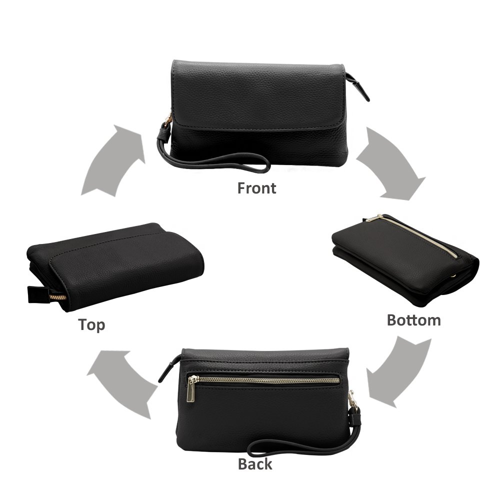 Befen Womens Leather Wristlet Clutch Crossbody Cell Phone Wallet, Mini Cross Body Bag with Shoulder Strap/Wrist Strap/Card Slots for iPhone 6S Plus/Samsung Note 5 – Black by Befen (Image #4)