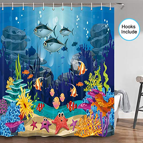 JAWO Blue Ocean Tropical Fish Coral Undersea World Shower Curtain, Underwater Sea Animal with Starfish Shower Curtains for Kids, Fabric Shower Curtain Hooks Include,70 in