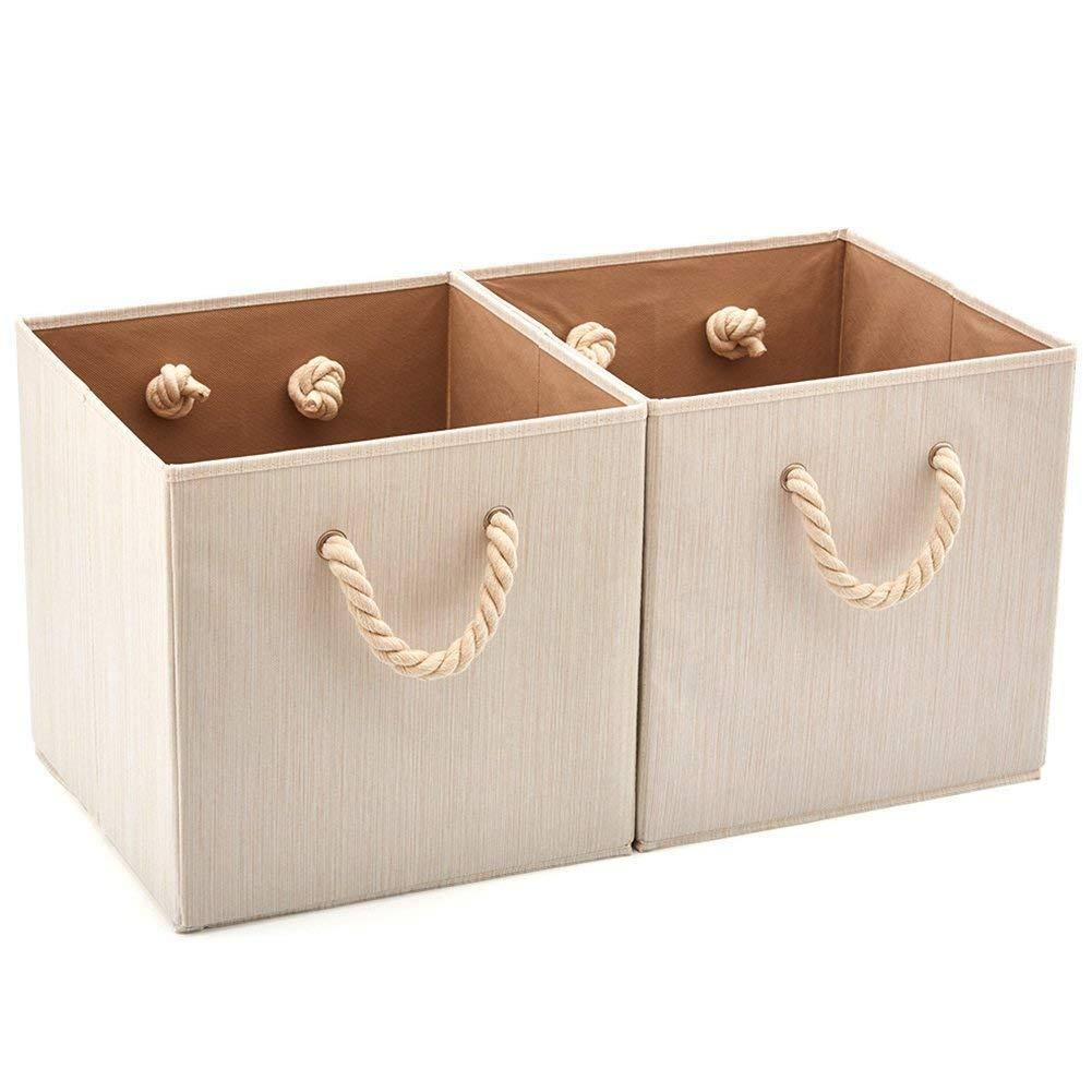 EZOWare 2 pcs Cajas de Almacenaje, Cubo Decorativa de Tela Plegable Resistente con Manijas para Ropa, Juguetes, Armario, Dormitorio, Estanterías y Mas ...
