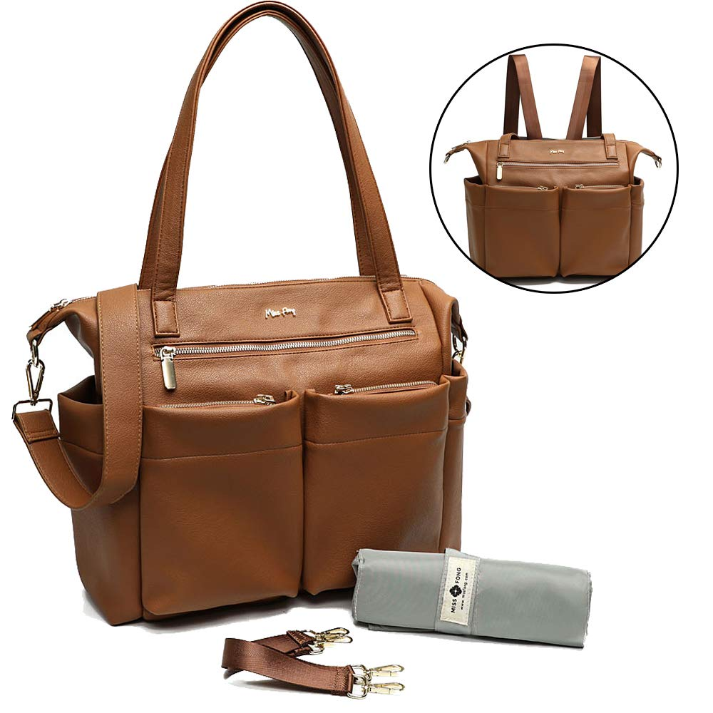 Leather Diaper Bag Backpack By Miss Fong, Baby Bag, Diaper Bag Tote With Changing Pad, In Bag Organizer, Stroller Straps, Insulated Pockets and Shoulder Strap (Brown)
