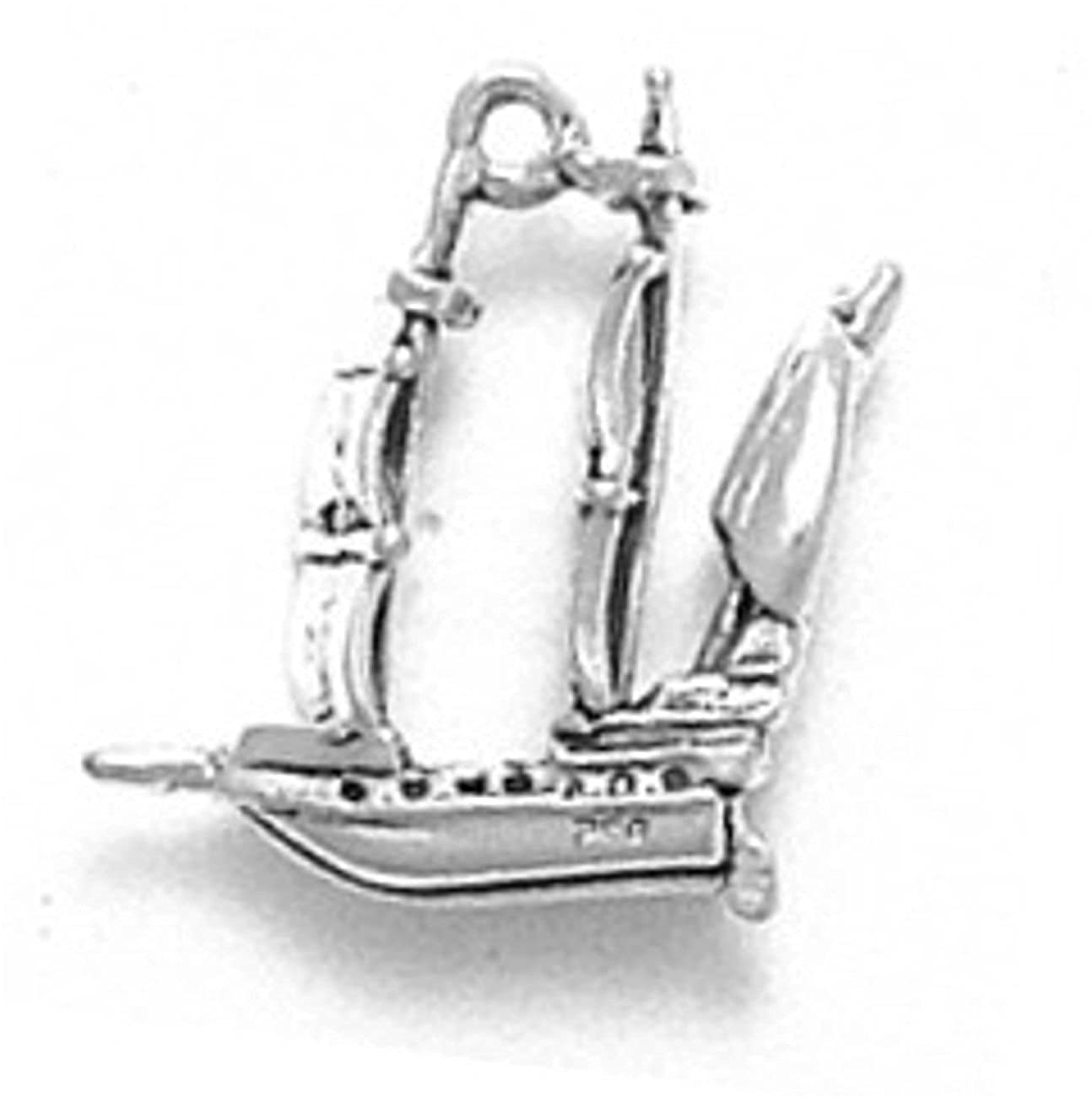 Sterling Silver Charm Bracelet With Attached 3D Pirate Pilgrim Spanish English Sailing Ship Charm