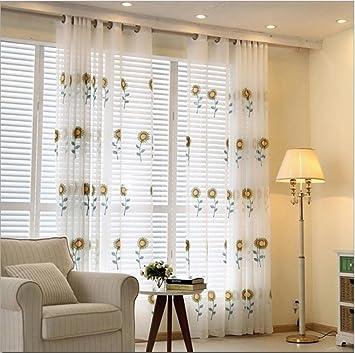 Gestickte Sonnenblume schiere Vorhang Tuch für Schlafzimmer ...