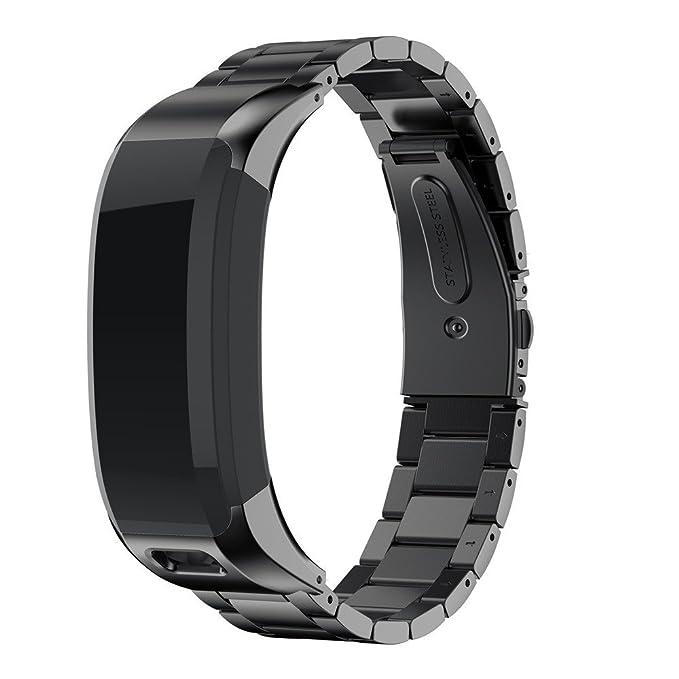 JiaMeng Banda De Reloj De Pulsera De Acero Inoxidable Metalica Correa para Garmin VIVOsmart HR Youth Watch(Negro): Amazon.es: Ropa y accesorios