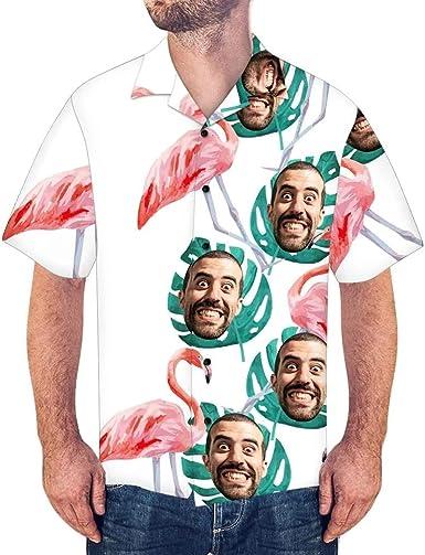 Amazon.com: Custom Face Hawaiian Shirt Short Sleeve for Men, Funny ...