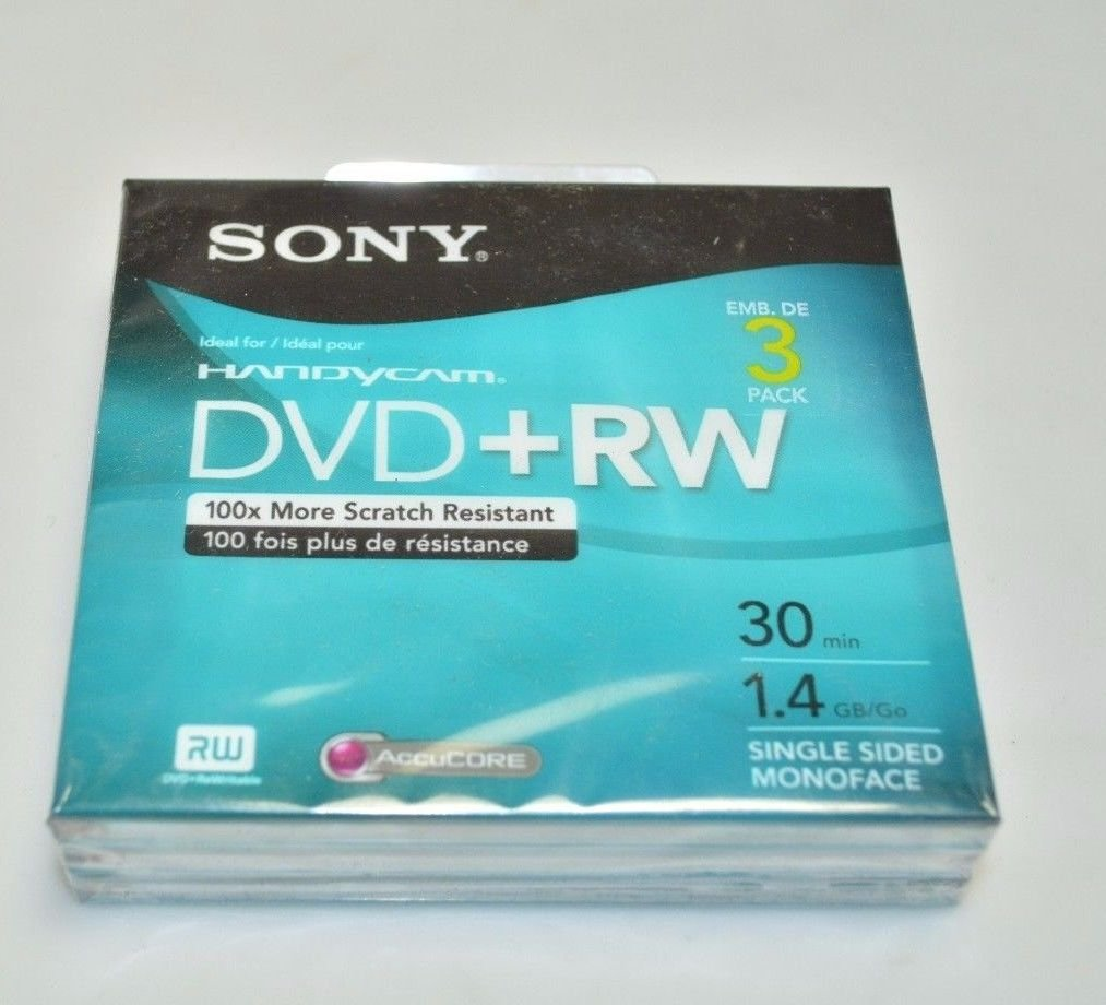 Sony DVD+RW 3-Pack: 8cm, 30 Minutes, 1.4 Gb/ Go, Single-Sided Monoface