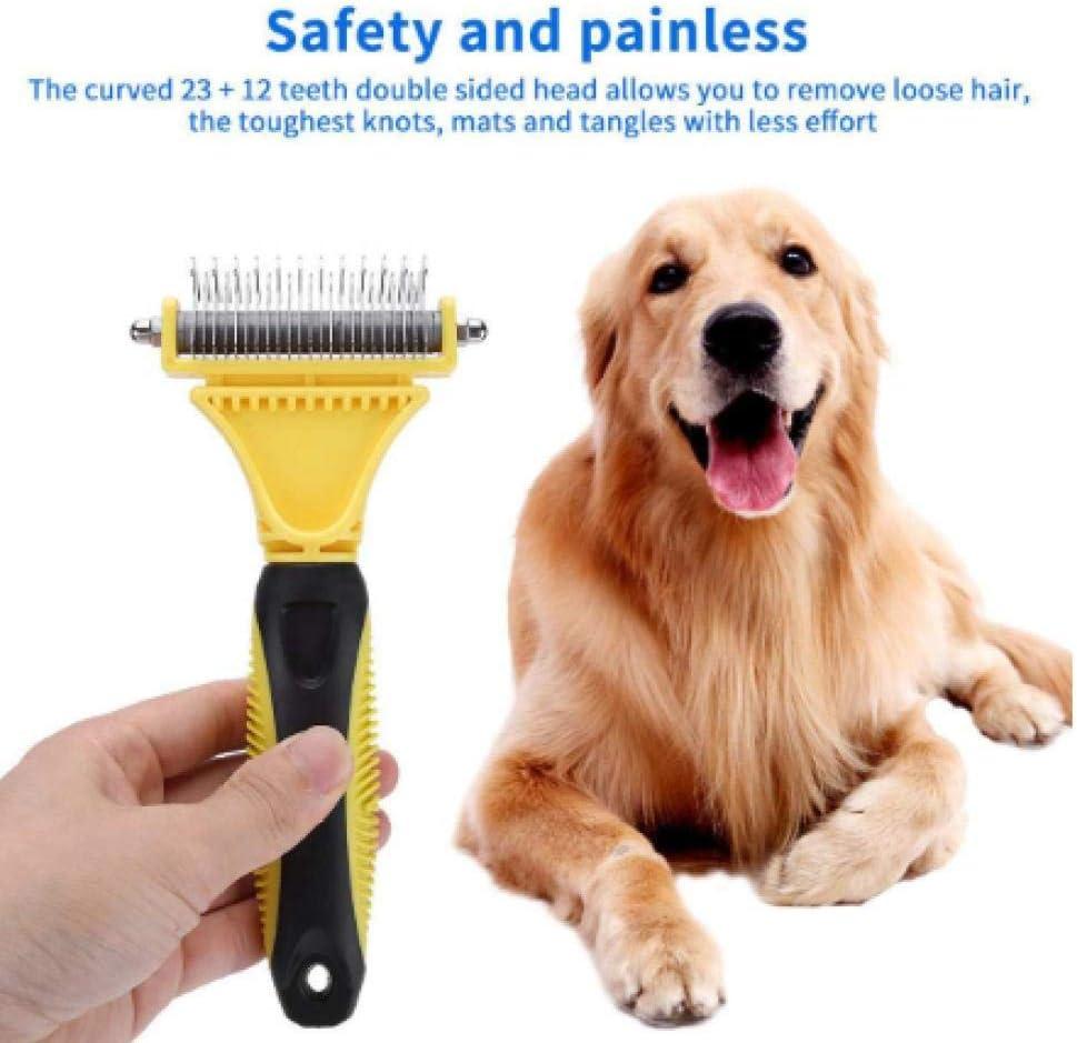 laoniu Removedor de Nudos para Mascotas Perro Gato Cepillo para depilación Peine Peine recortador Abierto de Doble Cara Peine Herramienta para peinar