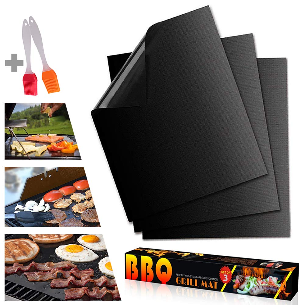 """Oven Liner 3pcs, Heavy Duty Grill Mat, 0.39MM Reusable Non Stick Sheet Protectors BBQ Grill Pad for Gas, Grill & Baking Mat, Electric & Microwave Ovens, Toaster Ovens, Cooking Accessory(15.75"""" x 13"""")"""