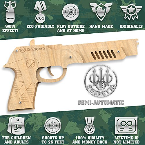 Rubber Band Gun – Toy Gun Beretta by iSottcom – Boys Toys for Outdoor Indoor Game – Wooden Toy Guns – Best Gift for Men – Wooden Pistol for Shooting Game – Kids Toys for Pretend Play