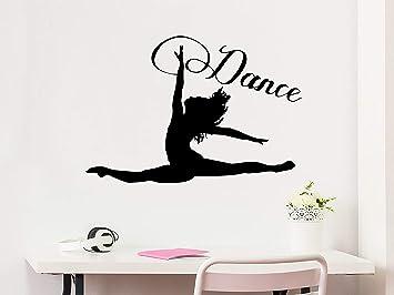 Dance Wall Decal Woman Girl Silhouette Dancing Gymnastics Acrobatics Vinyl Sticker Decals Home Decor Studio Dance Art Design Interior Ns1078 Amazon Com