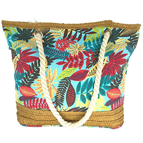 MeliMe X-Large Travel Shoulder Beach Tote Bag with Handmade Woven Straw Binding, Cotton Rope Handles, Waterproof Lining and a pocket inside. (Style 05) by MeliMe