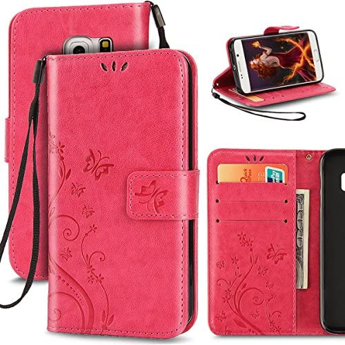 Galaxy S7 Case, S7 Flip Case,ihreesy Samsung Galaxy S7 Wallet Case Emboss Flower Butterfly [Wrist Strap] Flip Folio Magnetic [Kickstand] PU Leather Sales