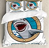 Sea Animal Decor Duvet Cover Set by Ambesonne, Funny Vintage Quote with Hungry Hound Shark Head in Ship Window Humor Print, 3 Piece Bedding Set with Pillow Shams, Queen / Full, Multi