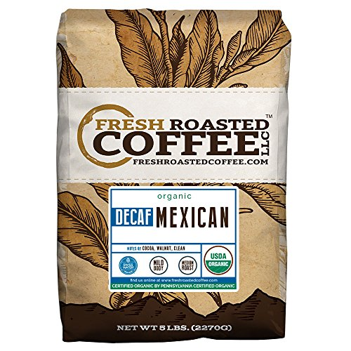 Fresh Roasted Coffee LLC, Organic Decaf Mexican Chiapas Coffee, Swiss Water Decaf, USDA Organic, Medium Roast, Whole Bean, 5 Pound Bag (Fresh Roasted Coffee Llc Organic)