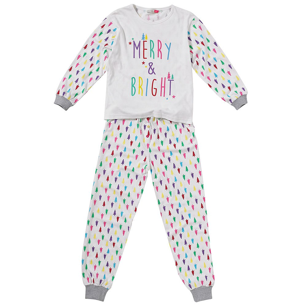 Cozy n Dozy Girls Christmas Tree Merry /& Bright Top and Leggings Pyjama Set