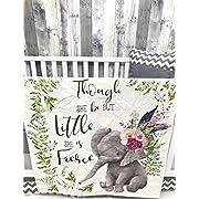 Baby Nursery Crib Bedding, Baby Bedding, Elephant, Boho, Floral, Crib Bedding, Nursery Room, Babylooms
