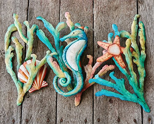 Sea-Life-Seahorse-Scallop-Starfish-Hand-Painted-Iron-Wall-Art