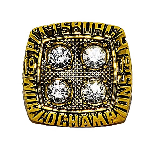 PITTSBURGH STEELERS (Terry Bradshaw) 1979 SUPER BOWL XIV WORLD CHAMPIONS Vintage Rare & Collectible High Quality Replica NFL Football Gold Championship Ring with Cherrywood Display Box