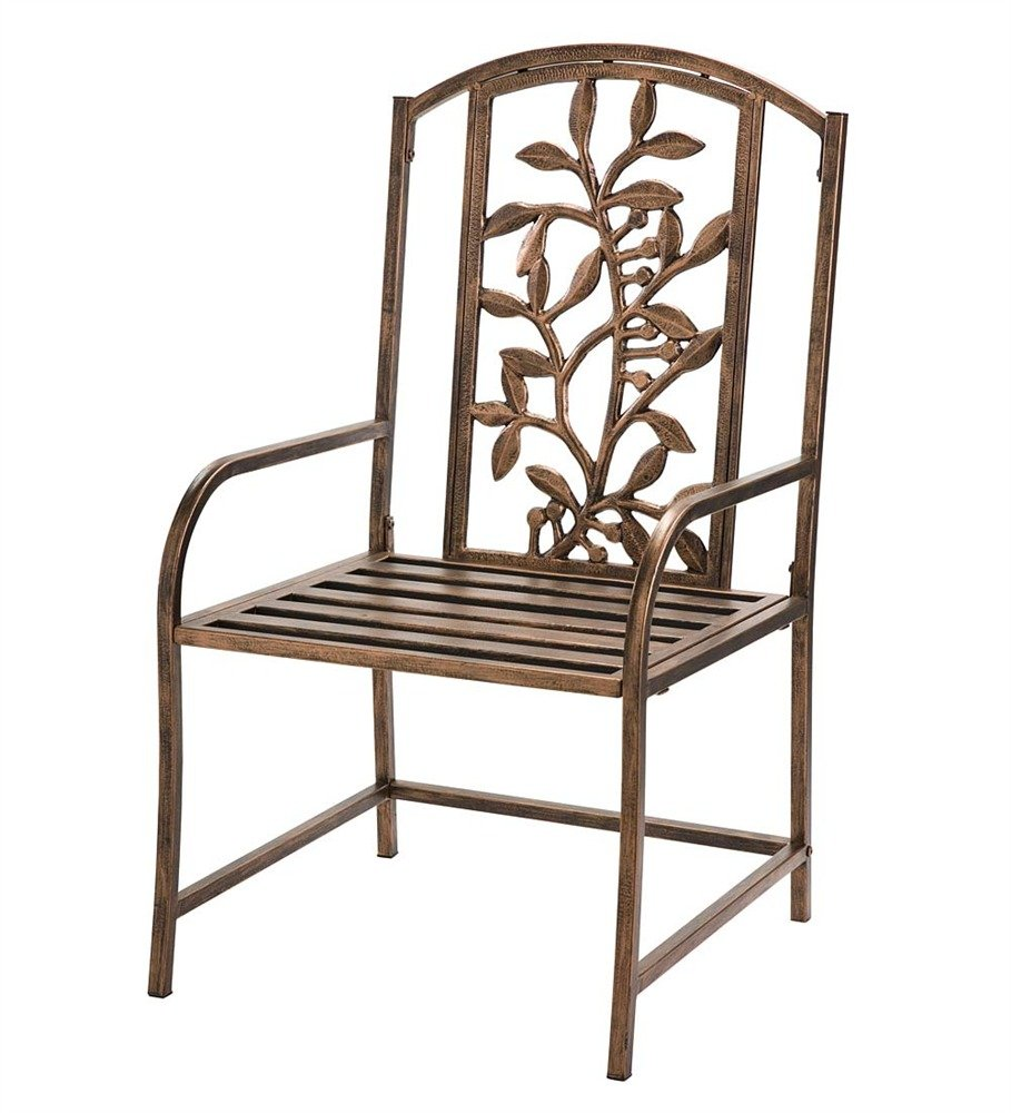 "Wind and Weather Iron Tuscany Chair - Chair with solid iron construction Olive branch design 21"" deep, slat-style seat - patio-furniture, patio-chairs, patio - 61iDHI65%2BLL -"