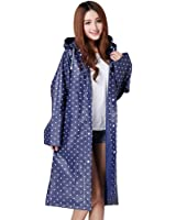 Women's Raincoat Long Sleeves With Hood EVA Polka Dot/Translucent Waterproof Rain Jacket Long Hooded Rainwear Ladies Showerproof Mac With Pouch for Women, Size L, XL, Blue, Red, White, Purple, Grey