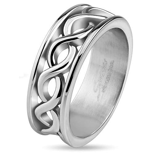 infinity el símbolo de infinito dedo anillo Acero Inoxidable Anillo Plata para Hombre y Mujer (