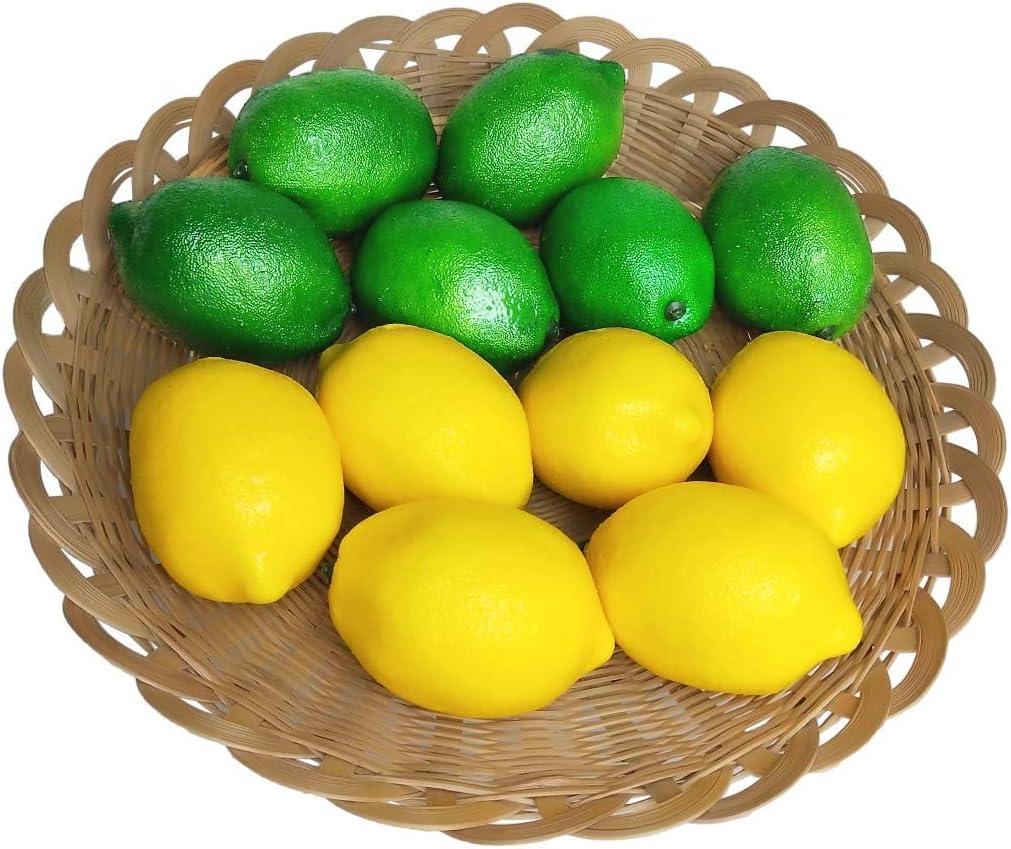 12 Pcs Artificial Lemons Fake Fruits Lemon for Home Decoration, Artificial Fruits Lemon Prop, Double Colour(6 Green Lemon+6 Yellow Lemon)