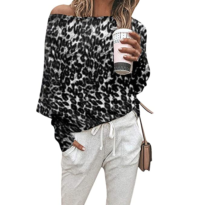 48f650d497 Ljdemmke One Shoulder Top Women Leopard Print Long Sleeve T-Shirts Causal  Blouse (Color