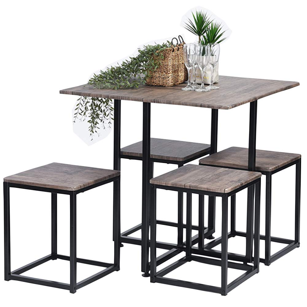 Set tavolo da pranzo, Asuuny con tavolo e 4 sedie, tavolo da cucina compatto salva spazio, set pezzi: tavolo da pranzo set in colore noce con struttura in acciaio nero, Adtc Asuuny con tavolo e 4sedie