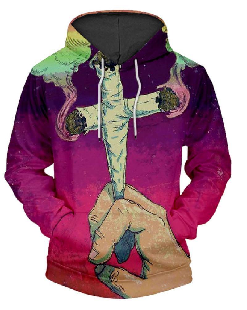 JW 3d Fashion Hoodies EU and Us Style 2018 Cross Cigarettes Purple Sweatshirts Hip Hop O-Neck Sweats Tops Hooded Pullovers