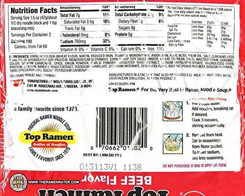 Nissin Top Ramen Beef Flavor Noodle Soup - 5 Ct (Pack of 3) by Nissin Top Ramen