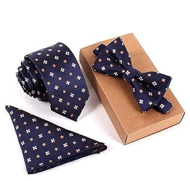 QHDZ Negocio Hombres corbatas Conjunto de corbata floral con lazo ...
