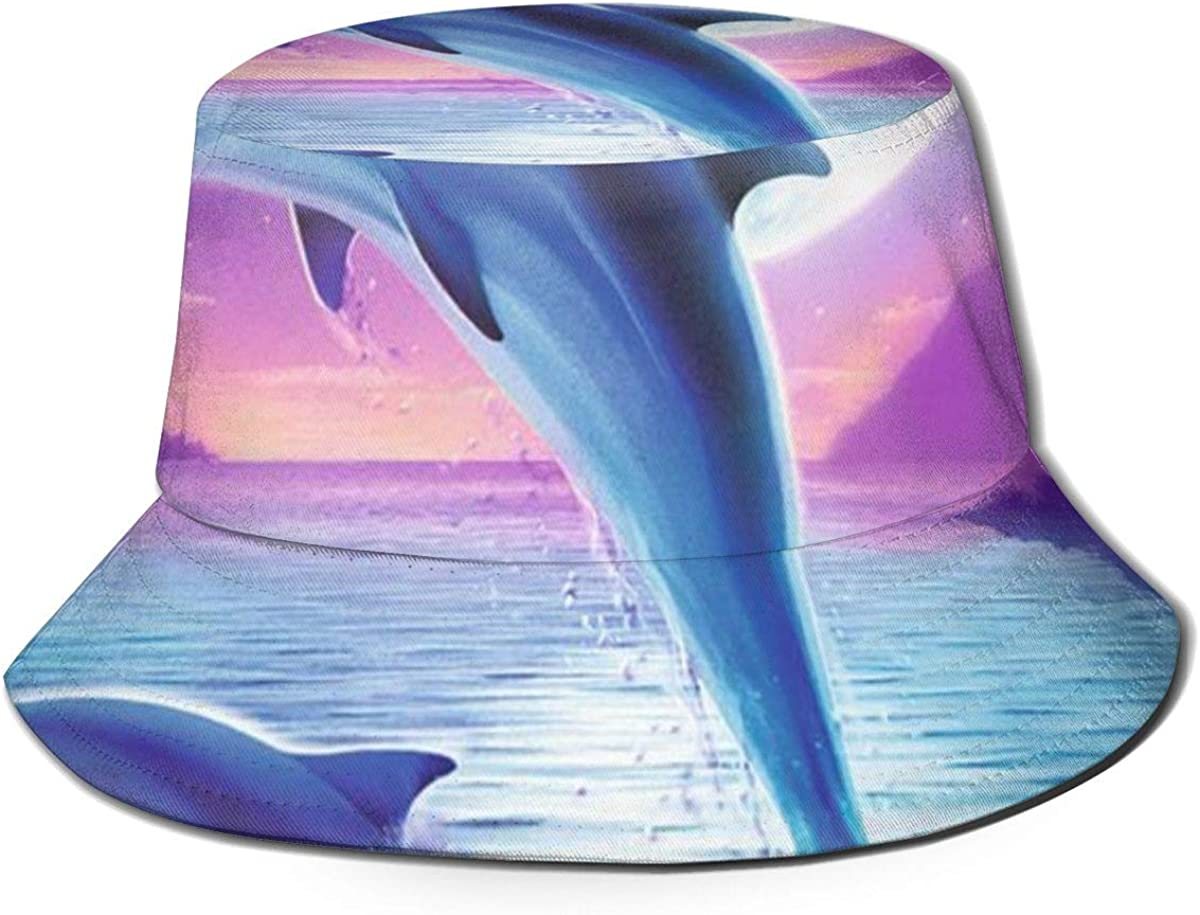 Unisex 100/% Polyester Purple Sky Jumping Dolphin Mesh Cap Classic Trucker Baseball Cap for Unisex
