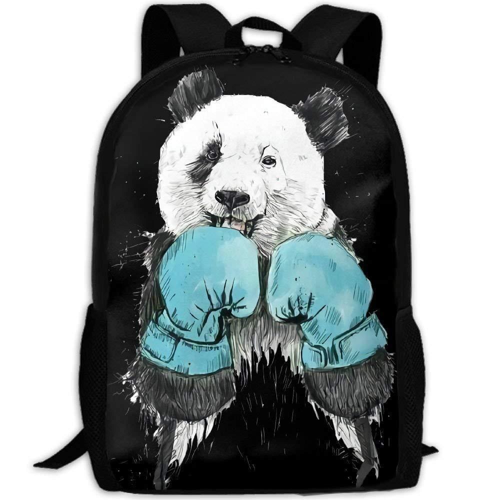 Backpack Boxing Panda Womens Laptop Backpacks Shoulder Bag Travel Daypack 16.5 Inch