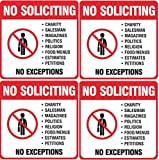 "(4 Pack) 5.5X5.5"" Self Adhesive No Soliciting Sign Decal Sticker Deters Solicitors Indoor & Outdoor Use Waterproof"