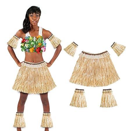 dianhai306 Falda De Hierba Hawaiana Traje De Fiesta Falda De Hula Elástica Falda De Hierba para Hombres Y Mujeres Cinco Juegos De Guantes Faldas De ...